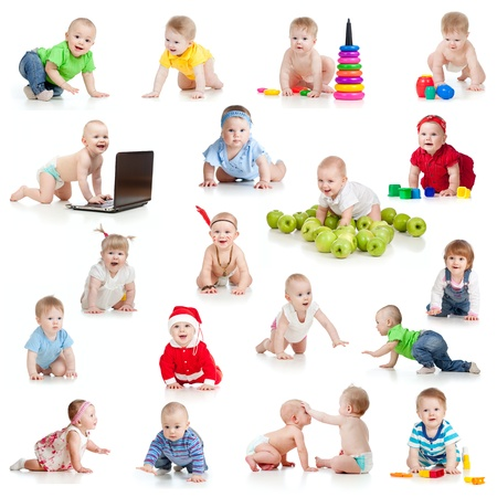 set of crawling babies or toddlers with toys isolated on white Stock Photo