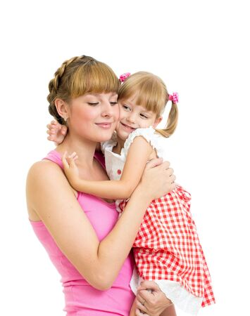 Happy mother embracing daughter isolated on white background Stock Photo - 15036340