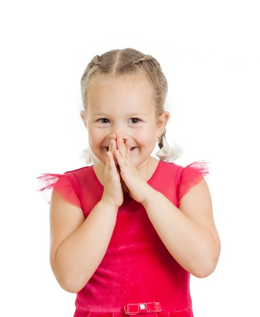 little girl surprised: child girl with hands close to face isolated on white background