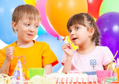 birthday of cute funny kids twins photo