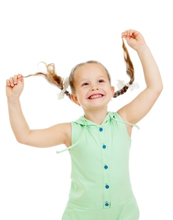 preschoolers: funny playful child girl on white background