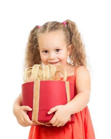 enfant fille heureux holding boîte-cadeau Banque d'images