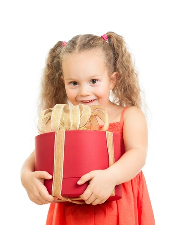 happy kid girl holding gift box photo