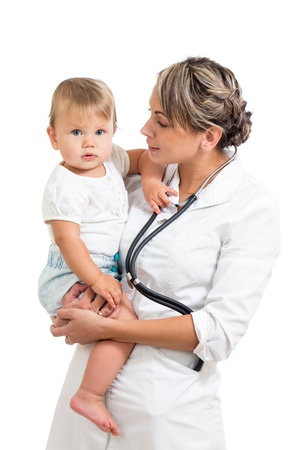 kindly: kindly pediatrist doctor holding baby on hands Stock Photo