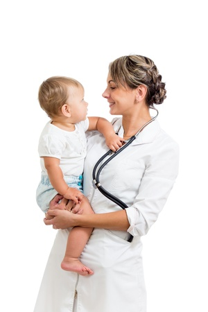 kindly: kindly pediatrist doctor holding cute baby on hands isolated on white Stock Photo
