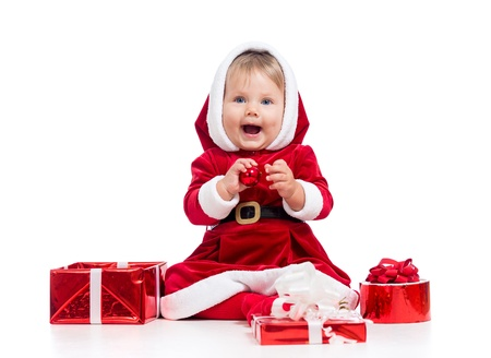 Santa Claus baby with gift box isolated on white background photo