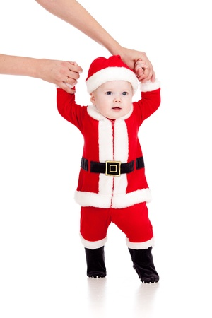 first steps of Santa claus baby toddler photo
