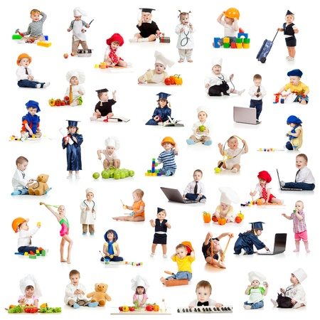 children kids babies playing professions isolated on white photo