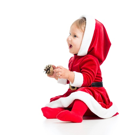 Santa Claus baby girl side view isolated on white background Stock Photo - 15361460