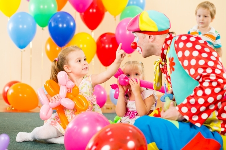 happy children and clown on birthday party Stock Photo - 15478085