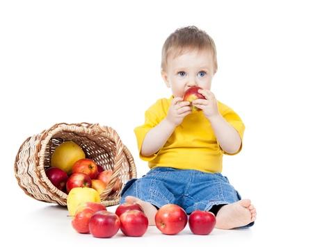 kid eating healthy food apple photo