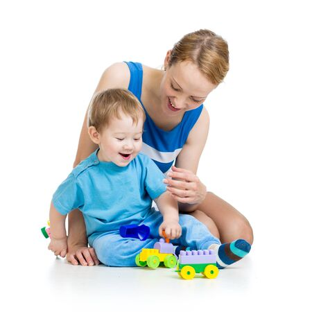 baby boy and mother playing together with construction set toy Stock Photo - 15586179