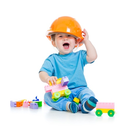 babies playing: kid playing with building blocks toy