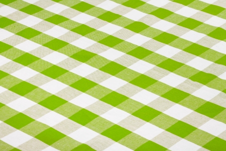 on the tablecloth: green checkered tablecloth