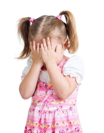 Little scared or crying or playing bo-peep girl hiding face photo