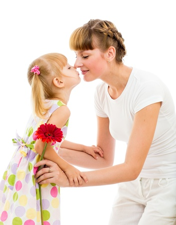 congratulate: A portrait of a happy mother and daughter celebrating mother