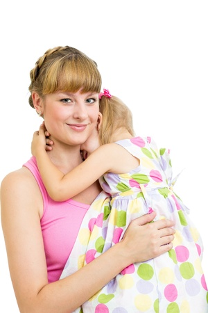 Mother embracing her daughter child isolated photo