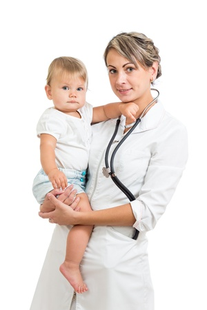 doctor holding cute baby on hands isolated on white Stock Photo - 15971796