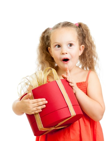 happy child girl with gift box photo