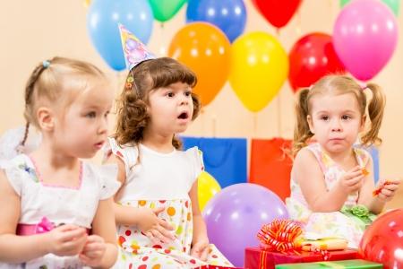 birthday gift: funny children on birthday party