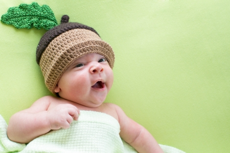 cute babies: baby baby weared in acorn hats