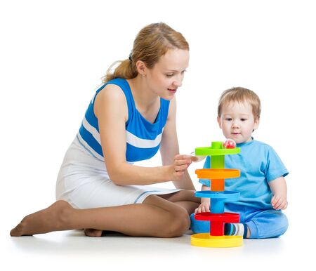 baby boy and mother playing together with toy Stock Photo - 16143387
