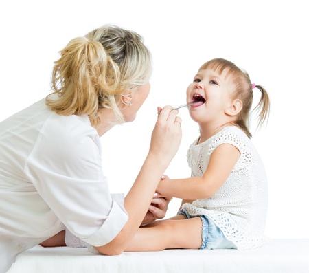 work checkup: doctor examining baby isolated on white background Stock Photo