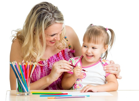teaching crayons: mother and her child fun games with color pencils