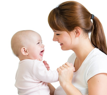 Loving mother playing with her baby on white background Stock Photo - 16521727