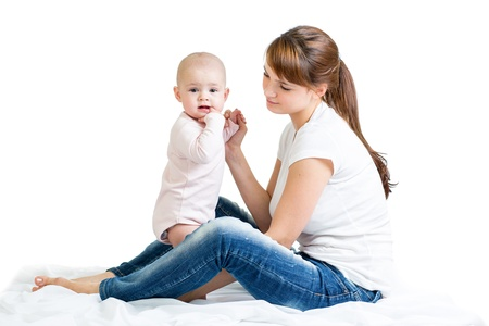 Loving mother with her baby on white background Stock Photo - 16521730