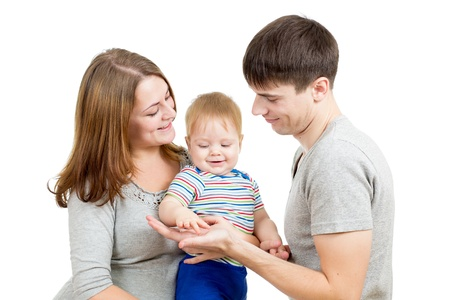 Happy family isolated on white background Stock Photo - 16521621