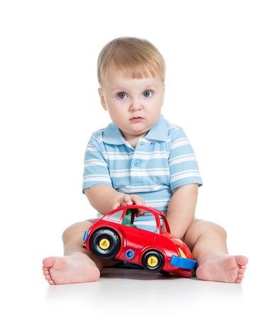 funny car: funny boy kid playing with toy car