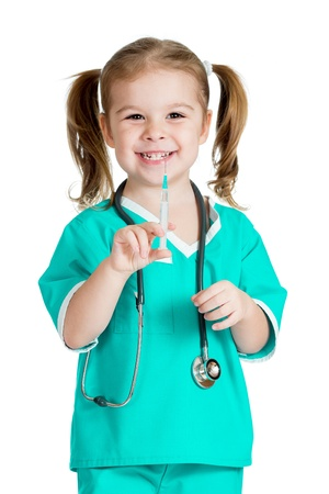 vaccines: kid girl playing doctor with syringe isolated on white background