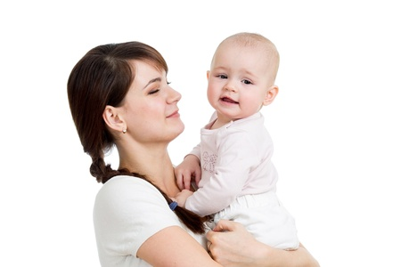 Happy mother looking at her baby girl isolated Stock Photo - 16935940