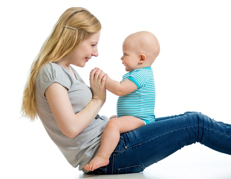 Loving mother having fun with her baby boy Stock Photo - 17153712