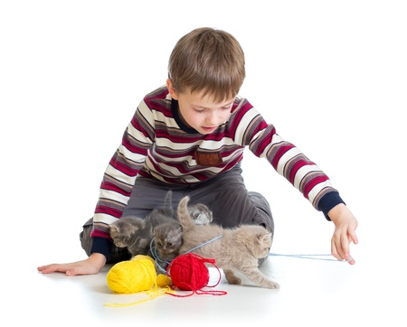 child ball: child boy playing with kittens isolated on white background