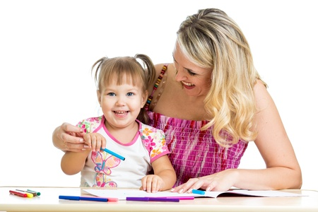 mother and her child fun games with color pencils Stock Photo - 17166084