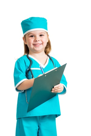 doctor s smock: Cute child uniformed as doctor over white background