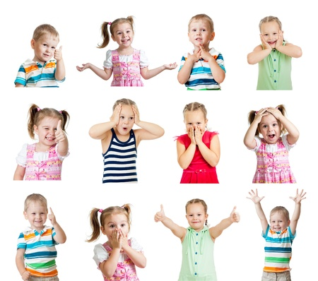 collection of kids with different positive emotions isolated on white background Stock Photo