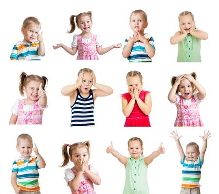 lachendes gesicht: Sammlung von Kinder mit verschiedenen positiven Emotionen auf wei�em Hintergrund