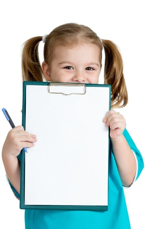 Adorable kid uniformed as doctor with empty clipboard in her hands photo