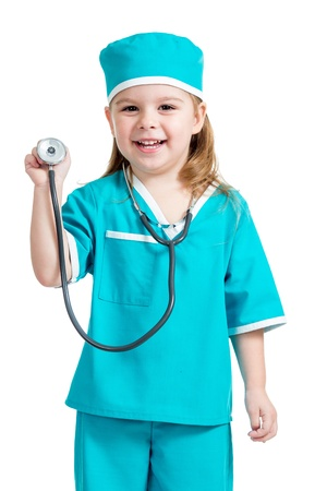 doctor s smock: Adorable child girl uniformed as doctor isolated on white background Stock Photo