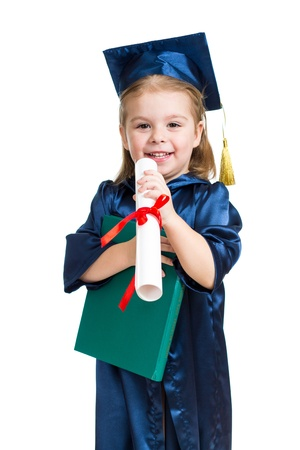 Little girl kid in academician clothes  reading book photo