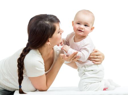 Loving mother playing with her baby on white background Stock Photo - 17283517