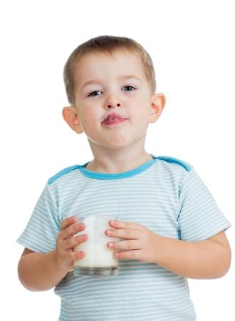 kid drinking yogurt or kefir isolated on white photo