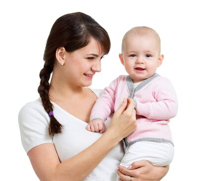 Happy mother holding her daughter child isolated Stock Photo - 17417361