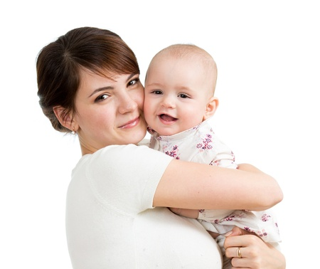 Happy mother embracing her daughter child isolated Stock Photo - 17417377