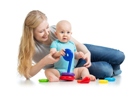 baby boy and mother playing together Stock Photo - 17417363