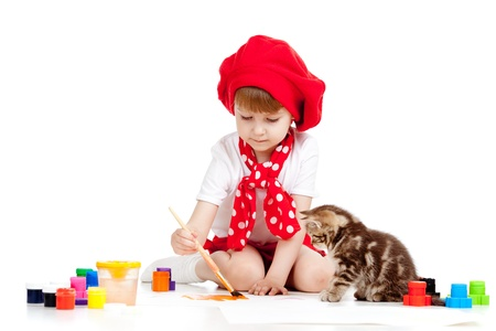 painter girl: painting child girl with cat kitten