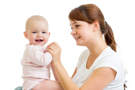 Loving mother with her baby girl on white background Stock Photo - 17455479